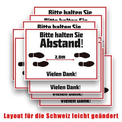 """Aufkleber """"Abstand halten"""" im Format DIN A4 - Set bestehend aus 10 Stück Monomere SK-Folie - matt laminiert - SK-Abstand A4-Set CH"""
