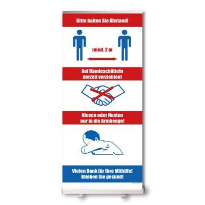 Bannerdisplay Roll-Up inkl. Banner Hygiene hinweise, Bannermaß: 850x2.100mm mit Klemmleiste oben - unten geklebt - Roll-Up Schutz