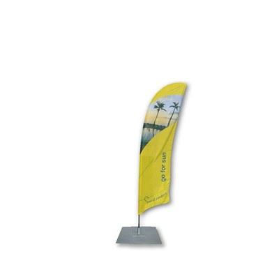Beachflag - STANDARD - Größe S inkl. Tragetasche&Bodenplatte 300x300x3 mm inkl. Fahne in Standardform - Beachflag-Standard-2500-Bodenplatte