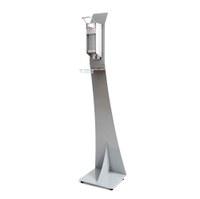 Desinfektionsspender-Display mit Pumpspender Spenderpumpe mit Armhebel Grundgestell pulverbeschichtet in RAL LICHTGRAU - Pumpspender Detail