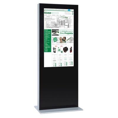 Digitale Info-Stele doppelseitig für den Inneneinsatz - Größe: 75 Zoll Farbe: schwarz - Digitale Infostele einseitig 65 Zoll schwarz