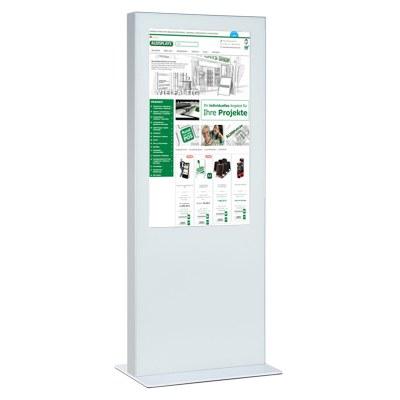 Digitale Info-Stele doppelseitig für den Inneneinsatz - Größe: 75 Zoll Farbe: weiss - Digitale Infostele einseitig 65Zoll weiß
