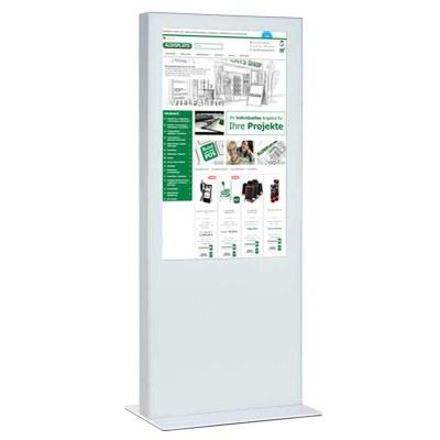 Digitale Info-Stele einseitig für den Inneneinsatz - Größe: 85 Zoll Farbe: weiss - Digitale Infostele einseitig 82 Zoll weiß
