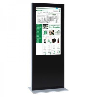 Digitale Info-Stele einseitig für den Inneneinsatz - Größe: 65 Zoll Farbe: schwarz - digitale infostele einseitig 65 zoll schwarz