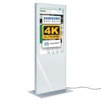 Digital Signage Digitale Info-Stele SLIM für den Inneneinsatz - Größe: 55 Zoll - 4K UHD Farbe: weiss - Digitale Infostele Slim einseitig  55 zoll weiss 4K