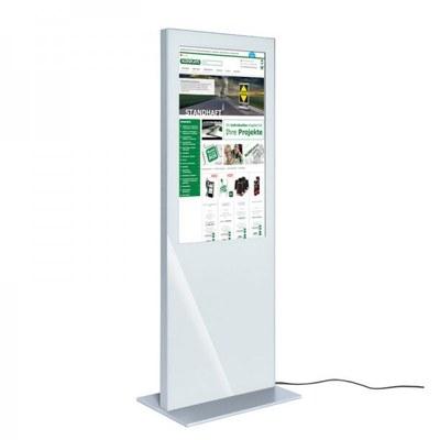 Digital Signage Digitale Info-Stele SLIM für den Inneneinsatz - Größe: 32 Zoll Farbe: weiss - digitale infostele slim einseitig 32 zoll weiss 1