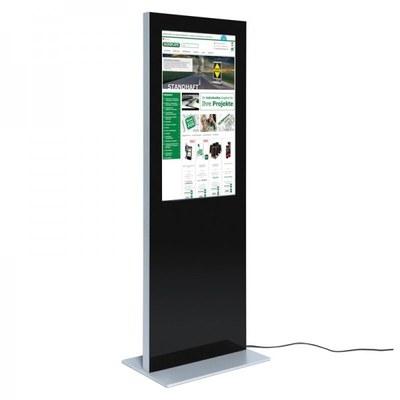 Digital Signage Digitale Info-Stele SLIM für den Inneneinsatz - Größe: 32 Zoll Farbe: schwarz - digitale infostele slim einseitig 32 zoll schwarz