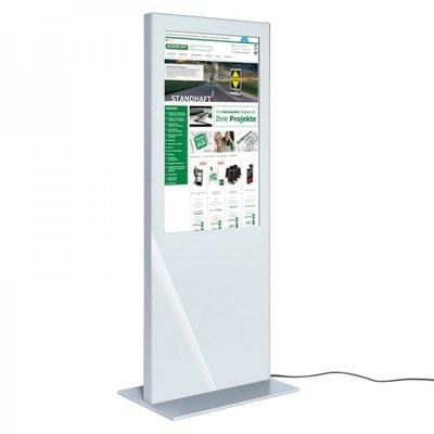 Digital Signage Digitale Info-Stele SLIM für den Inneneinsatz - Größe: 49 Zoll Farbe: weiss - digitale infostele slim einseitig 49 zoll weiss