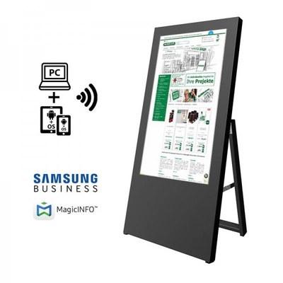Digitaler Kundenstopper Ausführung: schwarz - einseitig 32 Zoll - digitaler kundenstopper 32 zoll schwarz start