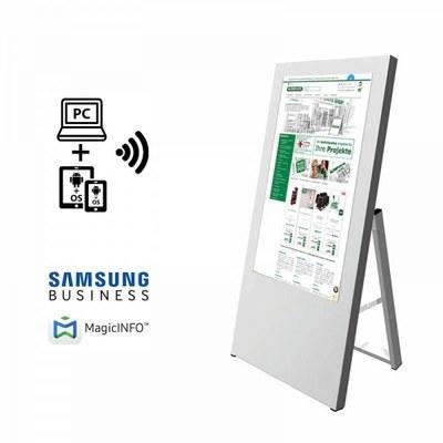 Digitaler Kundenstopper Ausführung: weiss - einseitig 32 Zoll - digitaler kundenstopper 32 zoll start m logo 1