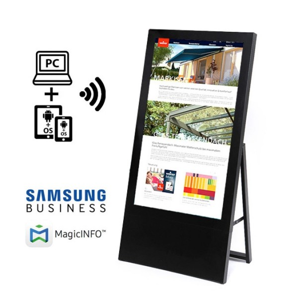 digitaler kundenstopper 43 zoll schwarz start m logo 1