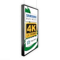 Digital Signage Digitales Poster TrendLine einseitiger 43 Zoll-Bildschirm - schwarz - 4K UHD zur Deckenmontage - inkl. Deckenmontageset - Digitales Poster Decke swz 4K