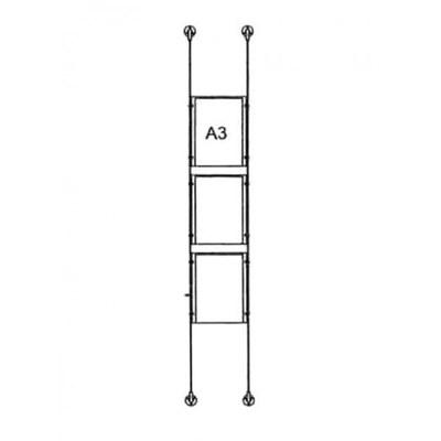 Drahtseilsystem Acryl Boden/Decke zum Verspannen zwischen Boden und Decke Format: 3x A3 (297x420 mm) HOCHFORMAT - da-bd-3xa3 - drahtseilsystem 3x din a3 hochformat 1