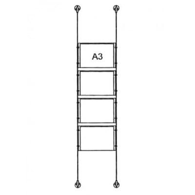 Drahtseilsystem Acryl Boden/Decke zum Verspannen zwischen Boden und Decke DIN A3 (297x420 mm) - da-bd-4xa3 - drahtseilsystem 4x din a3 querformat