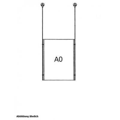 Drahtseilsystem Acryl Deckenabhängung zum Abhängen von der Decke Format: 1x A0 (841x1189 mm) HOCHFORMAT - da-d-1xa0 - drahtseilsystem 1x din a0 hochformat decke