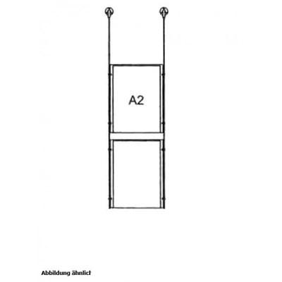 Drahtseilsystem Acryl Deckenabhängung zum Abhängen von der Decke DIN A2 (420x594 mm) - da-w-2xa2 - drahtseilsystem 2x din a2 hochformat decke