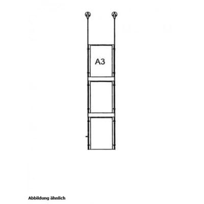 Drahtseilsystem Acryl Deckenabhängung zum Abhängen von der Decke Format: 3x A3 (297x420 mm) HOCHFORMAT - da-d-3xa3 - drahtseilsystem 3x din a3 hochformat decke