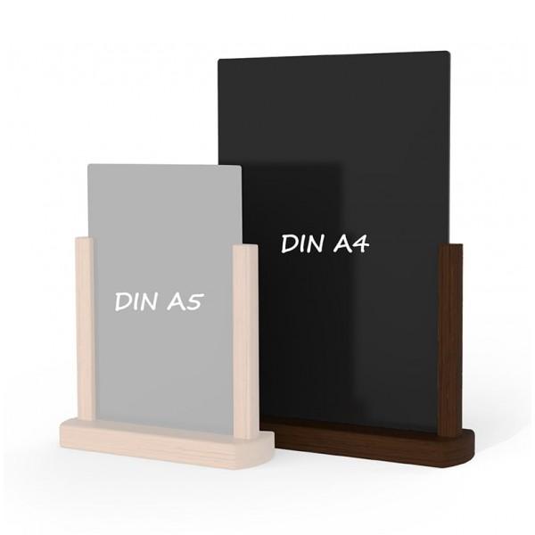 Holz-Tischaufsteller-DINA4-dunkelbraun
