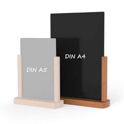 Holz-Tischaufsteller Kreidetafel DIN A4 Hochform. (210x297mm) Farbe des Holzrahmens: hellbraun - Holz-Tischaufsteller-DINA4-hellbraun