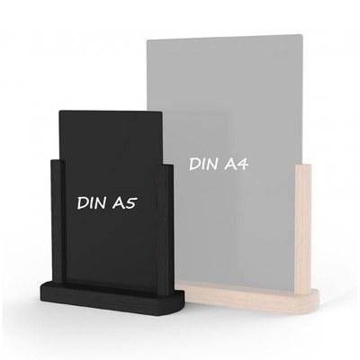 Holz-Tischaufsteller Kreidetafel DIN A5 Hochform. (148x210mm) Farbe des Holzrahmens: schwarz - Holz-Tischaufsteller-DINA5-schwarz