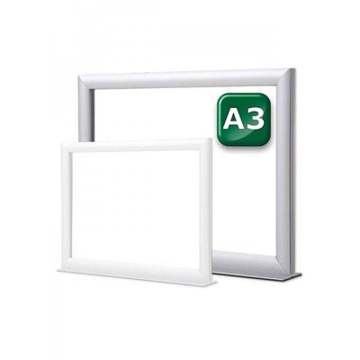 Infotopper-Einschubrahmen Format: DIN A3 quer, doppelseitig auf stabilem Alu-Standfuß - Farbe: silber-eloxiert - Infotopper-DIN-A3-JPG