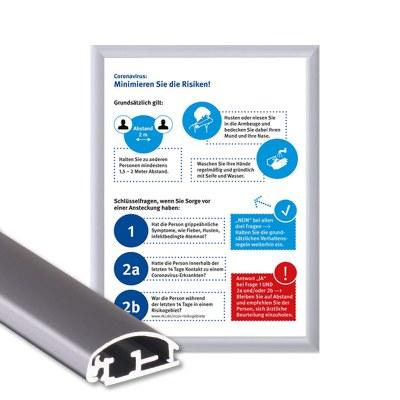 Klapprahmen mit Plakat Hygieneschutz Einlegeformat: DIN A3 (297 x 420 mm) Profil: 25mm Gehrung - Klapprahmen-25er-Profil Gehrung Hygiene-A3