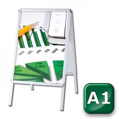 Kundenstopper OUTDOOR Einlegeformat: DIN A1 (594x841 mm) Profil: 32mm Rondo - kundenstopper-outdoor-din-a1-rondo