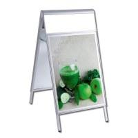 Kundenstopper PREMIUM Topper Einlegeformat: DIN A0 (841x1.189 mm) mit Info-Topper als Einschubrahmen (unbedruckt) - Kundenstopper-DIN A1-Premium-wasserdicht-mit Logoblende-unbedruckt
