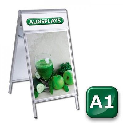 Kundenstopper PREMIUM Topper Einlegeformat: DIN A1 (594x841 mm) mit Info-Topper als Einschubrahmen (unbedruckt) - kundenstopper-premium-din-a1-top-bedruckt