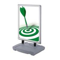Kundenstopper Swing-Master PREMIUM Einlegeformat: DIN A0 (841x1.189 mm) Profil: 40mm - Oberprofile: silber-eloxiert (EV1) - Kundenstopper-Swing-Master-Premium