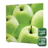 No-Frame Standdisplay Doppelseitig - Format: 2.200x2.200 mm Farbe: silber-eloxiert - mit beidseitiger, - NOFrame-doppelseitig-2200x2200