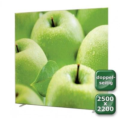 No-Frame Standdisplay Doppelseitig - Format: 2.500x2.200 mm Farbe: silber-eloxiert - mit beidseitiger, - NOFrame-doppelseitig-2500x2200