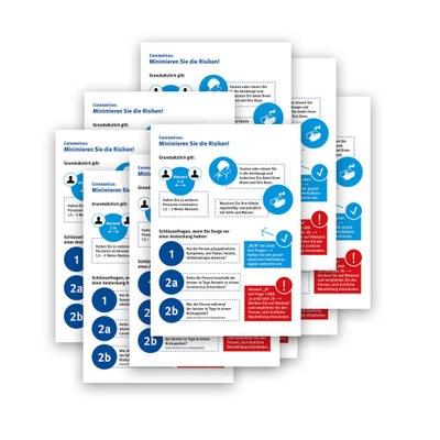 Poster-Set Hygienehinweis im Format DIN A4 - Set bestehend aus 10 Stück Material: Photopapier 135 g/m2 - Hygiene Hinweis A4