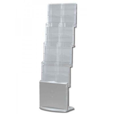 Prospektständer faltbar PREMIUM Zick-Zack-Form Breite Ausführung - mit 8 Prospektablagen - faltbar-premium-2xdin-a4 1