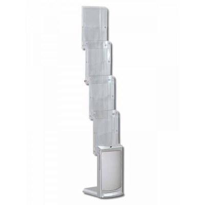 Prospektständer faltbar PREMIUM Zick-Zack-Form Schmale Ausführung - mit 4 Prospektablagen - faltbar-premium-1xdin-a4 1