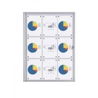 Schaukasten ECO BT26 Indoor 3x3 DIN A4 (Außenformat: 711x963mm) Gehäuse und Rahmen aus Aluminium - Schaukasten BT26  Indoor 3x3