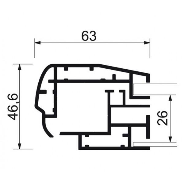 schaukasten premium led bt46 outdoor detail profilquerschnitt 1