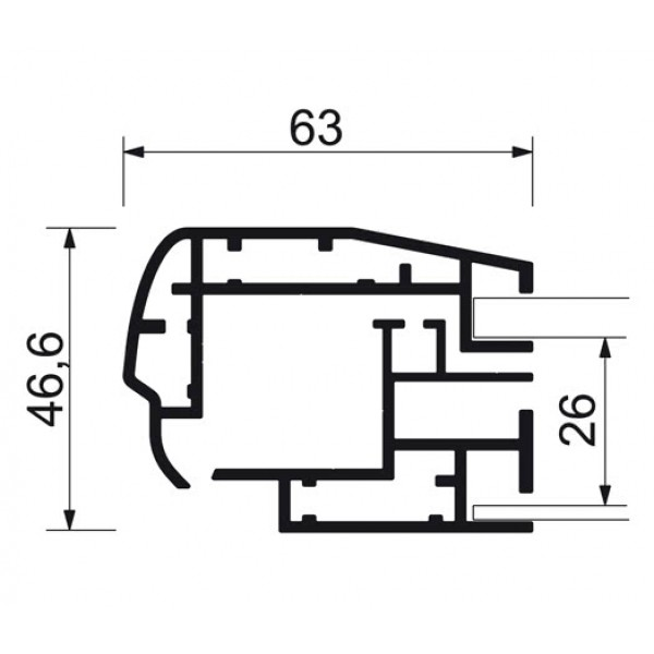 schaukasten premium led bt46 outdoor detail profilquerschnitt 5