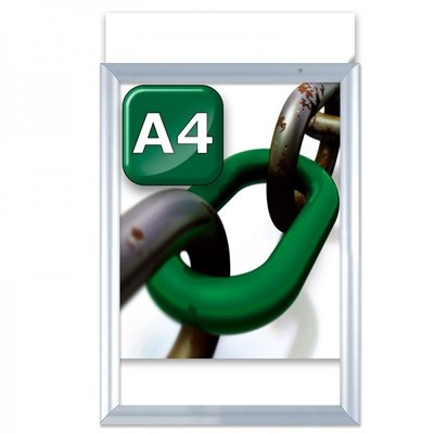 Slide-In Einschubrahmen Einlegeformat: DIN A4 (210x297 mm) Profil: 24 mm - silber-eloxiert - klapprahmen-slide in a4
