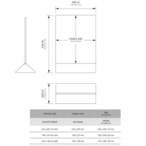 Dispenser-Tisch-Aufsteller-DINA4-Hochformat-SEA01-3-Zeichnung 1