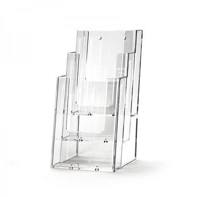 Tischständer - Mehrfach Einlegeformat: Lang-DIN (105x210 mm) Anzahl Fächer: 3 (hintereinander) - Dispenser-Lang-DIN-3x-Hintereinander-3C104