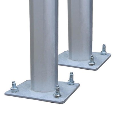 Zubehör Ständerwerk 2.000 mm Länge Aluminium-Rundrohr - d=66mm mit Bodenplatte - Schaukaesten-Zubehoer-Standrohr-Bodenplatte Ansicht